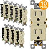 ENERLITES Duplex Receptacle Outlet, Tamper-Resistant, Residential Grade, 3-Wire, Self-Grounding, 2-Pole,15A 125V, UL Listed, 61580-TR-I-10PCS, Ivory (10 Pack) (Color: Ivory 10 Pack)