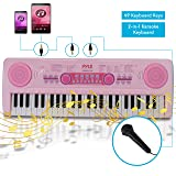 Electric Keyboard Piano for Kids-Portable 49 Key Electronic Musical Karaoke Keyboard, Learning Keyboard for Children w/Drum Pad, Recording, Microphone, Built-in Speaker-Pyle PKBRD4911PK (Pink) (Color: Pink)