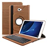 Keyboard Case for Samsung Galaxy Tab A 10.1,Dingrich 360 Rotating Protective Bluetooth Keyboard Case for Samsung T580/T585 Galaxy Tab A 10.1 inch (Brown) (Color: Brown, Tamaño: Galaxy Tab A 10.1)