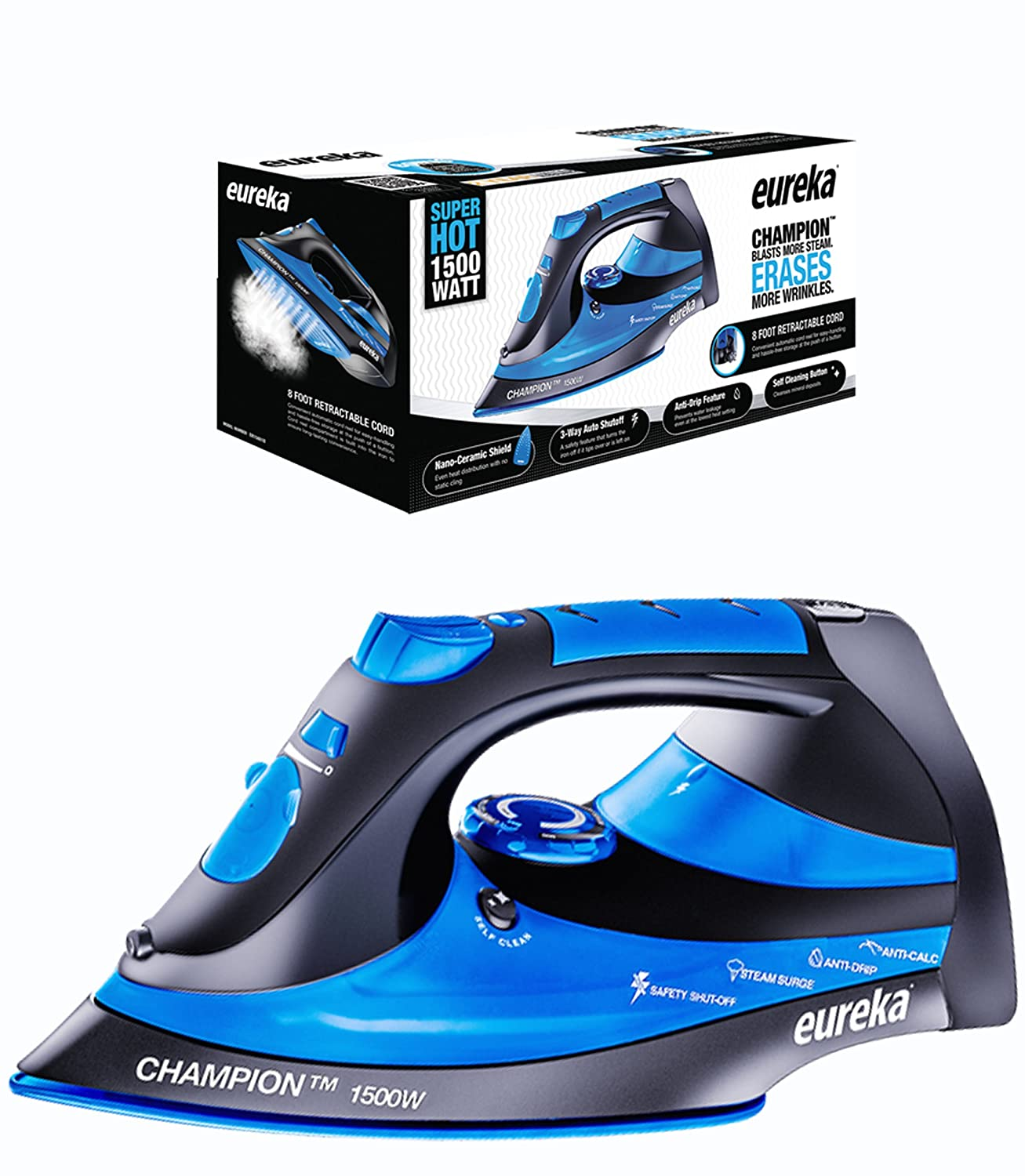 Eureka Champion Super Hot 1500 Watt Powerful Steam Surge Technology Iron Blue Pouch Included