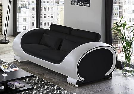 SAM® Design Sofa Vigo 2-Sitzer in schwarz-weiß mit bequemen verstellbaren Kopfstutzen, futuristisches Design, angenehmer Sitzkomfort, pflegeleichte Oberfläche