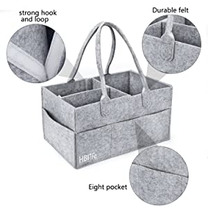 Grey Baby Diaper Caddy Organizer HBlife Nursery Storage Bin Portable Diaper with Changeable Compartments for Newborn Registry Must Haves Baby Wipes Shower Gift