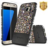 Galaxy S7 Edge Case with [Screen Protector HD Clear], NageBee Shiny Diamond Glitter Bling Crystal Super Slim Protective Soft TPU Leather Hybrid Case for Samsung Galaxy S7 Edge G935 (Black)