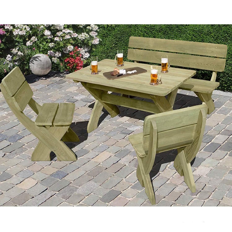 gartenbank mit picknicktisch und 2 st hlen aus holz von gartenpirat g nstig. Black Bedroom Furniture Sets. Home Design Ideas