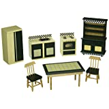 Melissa & Doug Doll-House Kitchen Furniture (Set of 7), Buttery Yellow/Deep Green (Color: See Item, Tamaño: H: 13.5 x W: 9.5 x D: 4.5)
