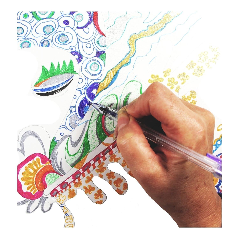 12 Glitter Gel Pens | Best Colored Gel Pens Set | Gelpen Ink for Art
