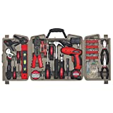 Apollo Tools DT0738 161 Piece Complete Household Tool Kit with 4.8 Volt Cordless Screwdriver and Most Useful Hand Tools and DIY accessories (Color: Red, Tamaño: One Size)