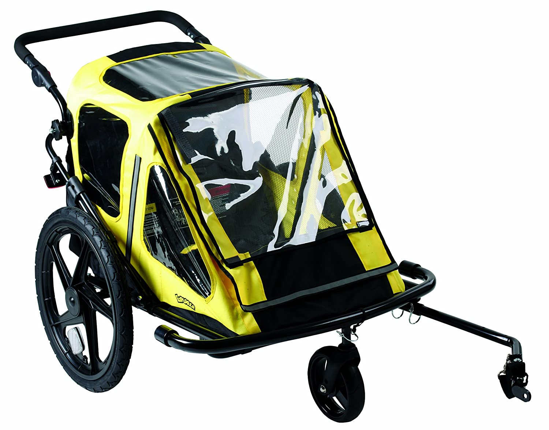 Remolque de bicicleta de dos plazas para niños
