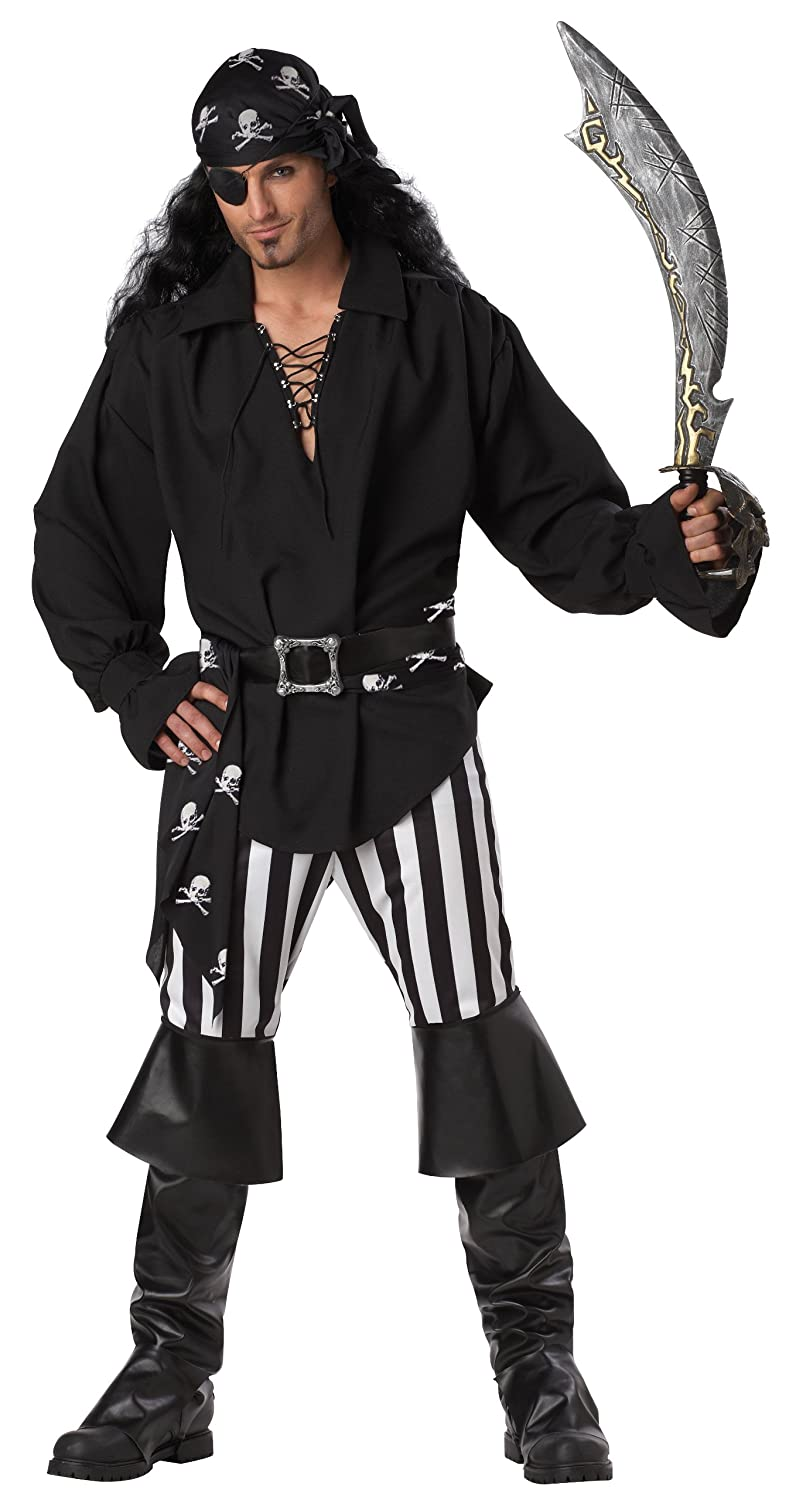 Black & White Swashbuckler Pirate Costume Adult Medium