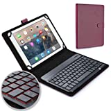 Samsung Galaxy Tab S2 9.7 keyboard case, COOPER BACKLIGHT EXECUTIVE 2-in-1 Backlit LED Bluetooth Wireless Keyboard Leather Travel Cover Folio Portfolio Stand with 7 Colors SM-T810 T815 (Purple)