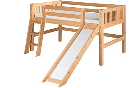 Camaflexi Mission Style Solid Wood Low Loft Twin Bed with Slide, Side Angled Ladder, Natural