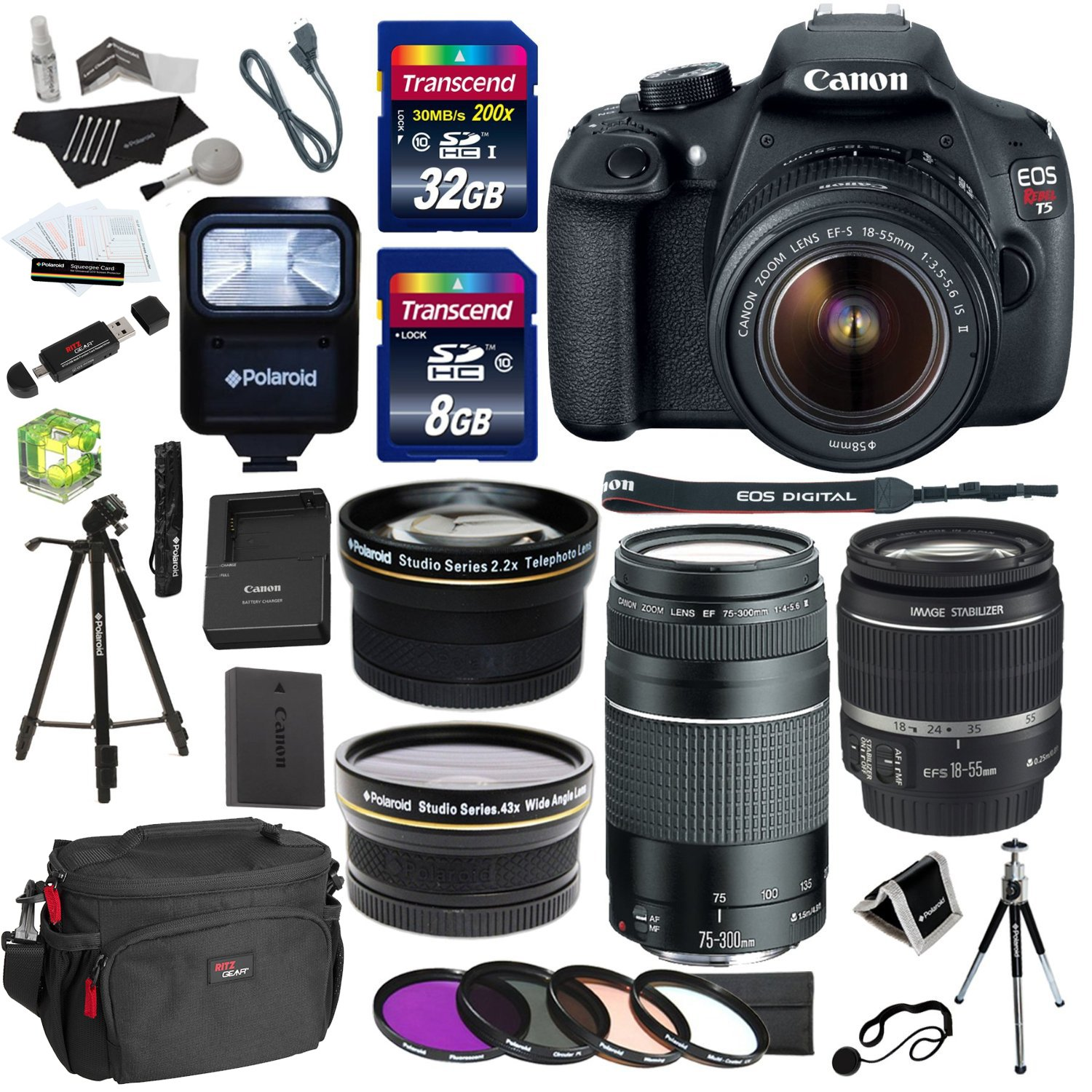 Canon EOS Rebel T5 Digital SLR Camera Body with EF-S 18-55mm IS + EF 75-300mm f/4-5.6 III + Polaroid Studio Series 58mm Wide Angle and 58mm Fixed Telephoto Lenses  ..