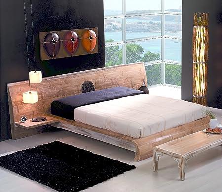MING Bett 180 x 200 | Vintage Massivholzbett mit Bambusfurnier |