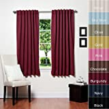 Solid Thermal Insulated Blackout Curtain 63L- 1 Set-BURGANDY