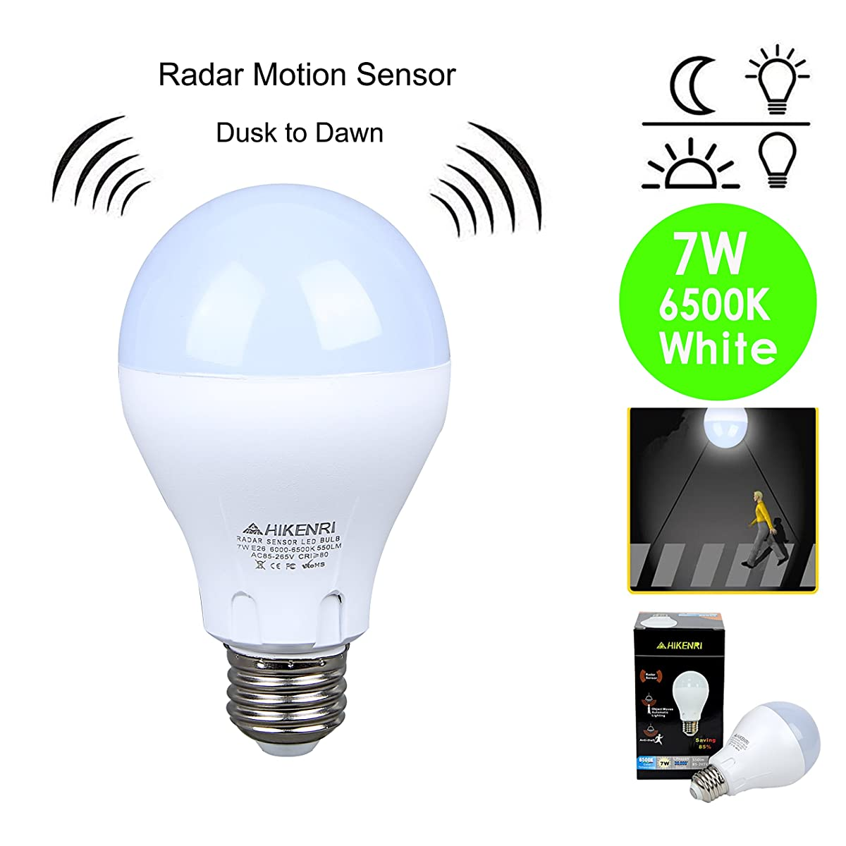 Motion Sensor Light Bulb 7W(60W Equivalent) Radar Smart Bulb Dusk to Dawn LED Motion Sensor Light Bulbs E26 Base Indoor Sensor Night Lights Soft White 6500K Outdoor Motion Sensor Bulb Auto On/Off