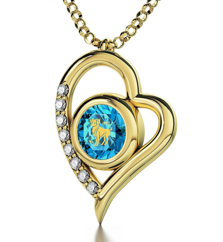 Kristallener Geburtsstein-Anhänger April - Vergoldeter Widder-Schmuck - Herz-Halskette mit Beschriftung in 24k Gold auf Zirkonia Edelstein - Sternzeichen Geburtstags-Geschenk für Partnerin
