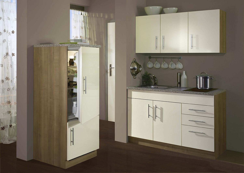 Held Möbel 907.6514 Single-Küche 180 mit 2-er Glaskeramikkochfeld und Kühlschrank mit Gefrierfach, glanz-creme / nocefarben