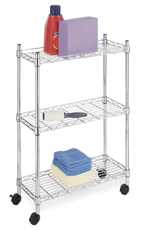 3 Tier Rolling Storage Cart Shelves Laundry Kitchen Bar