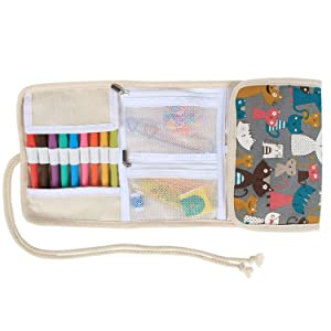 Teamoy Crochet Hook Case, Canvas Roll Bag Holder Organizer for Various Crochet Needles and Knitting Accessories, Compact and All-in-one. (Color: Elegant Cats, Tamaño: Canvas Crochet Hook Case)