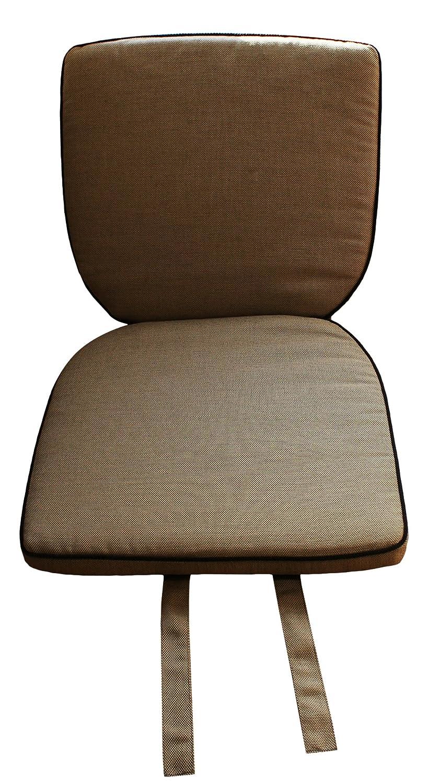 6 Sitz-und Rückenkissen Farbe Sand mit schwarzem Keder/ für Garten- und Terrassenstühle/mit Befestigungsbänder/ MBM/waschbar/ Stuhlauflage kaufen