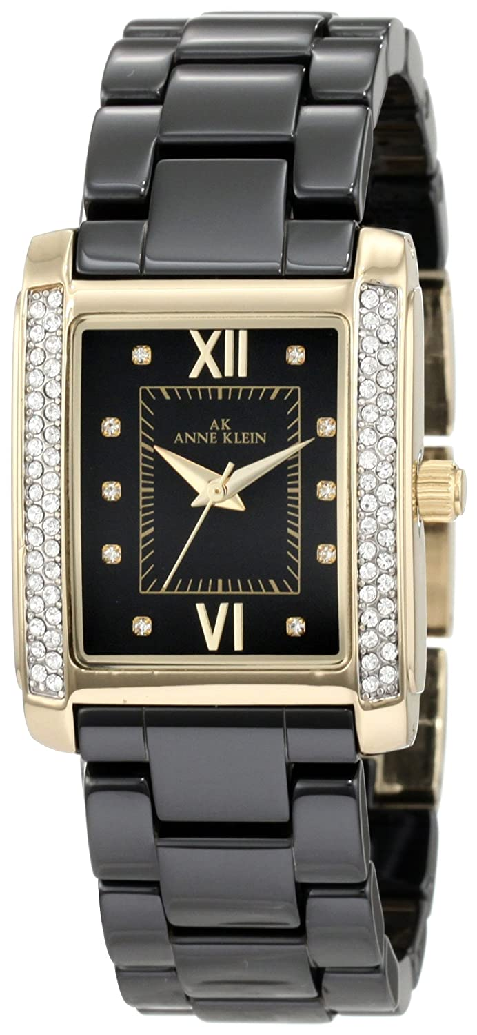 AK Anne Klein Women's 10/9922BKBK Swarovski Crystal Accented Gold-Tone Black Ceramic Bracelet Watch