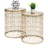 2PCS Set Table Round Gold Decorative Accent Sofa Side Table Nightstand Display Art Deco Vintage Style or a Bedroom, Living Room, Patio, Balcony (Color: Gold, Tamaño: 16.5