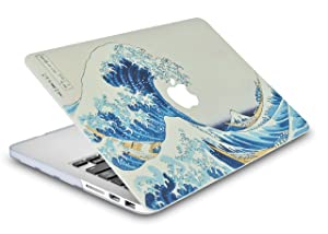 LuvCase 3 in 1 LaptopCase with Keyboard Cover and Screen ProtectorforOld MacBook Pro 13 (CD Drive, 2008-2012) A1278HardShellCover(Japanese Wave) (Color: Japanese Wave + Keyboard Cover + Screen Protector, Tamaño: A1278 Old Pro 13 CD Drive (2009))