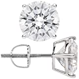 14K Solid White Gold Stud Earrings | Round Cut Cubic Zirconia | Screw Back Posts | 4.0 CTW | With Gift Box