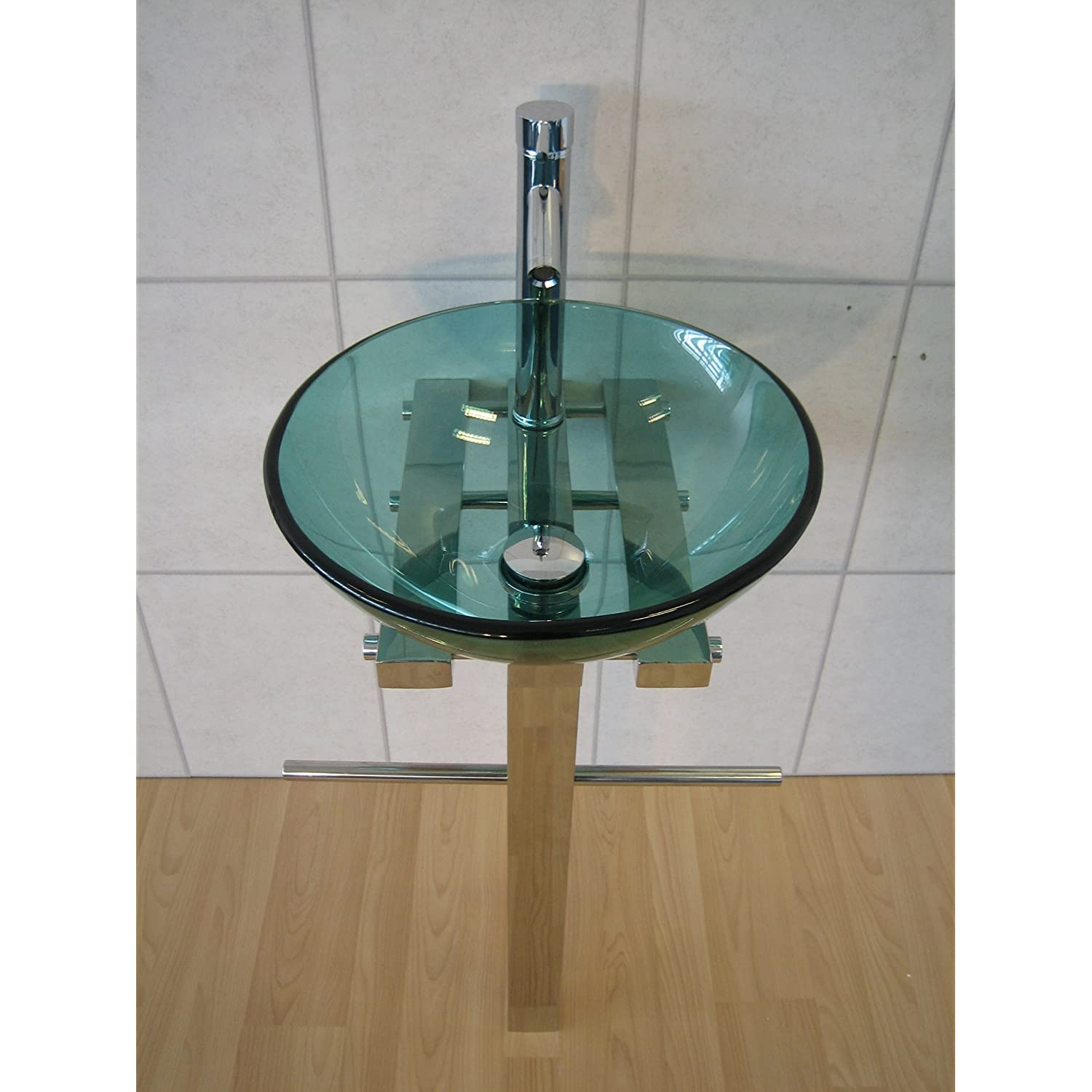 Bathroom Sink Trap : Designer Bathroom Sink Round Green Glass Wash Basin Pedestal Tap Trap ...