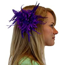 Feather Flower Hair Clip or Pin in 7 Colors