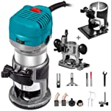 Mophorn 1.25HP Soft Start Compact Router Kit Max Torque 30,000RPM Variable Speed Router With Fixed Base, Plunge Base and Tilt Base For Woodworking & Furniture Manufacturing