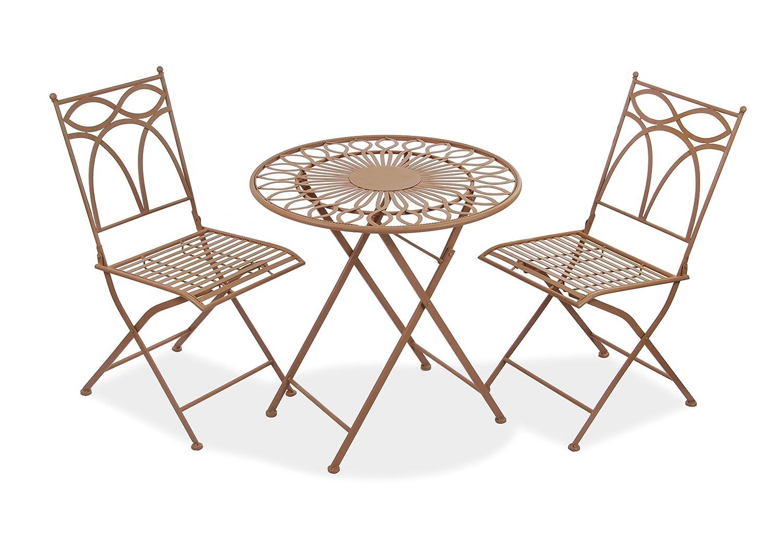 """Alium Bistro-Gartenset """"Pesaro"""" aus Stahl - Tisch und zwei Stühle - braun"""