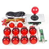 SODIAL Zero Delay USB Encoder To PC Games Joystick + 10x LED Illuminated Push Buttons For Arcade Joystick DIY Kits Parts KOF Mame Raspberry Pi 2 3 Red Colors (Color: red)
