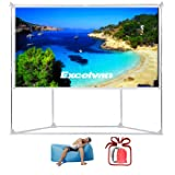Excelvan Outdoor Indoor Compatible Wrinkle-Free Portable Projector Screen With Trapezoid Base Stand With Transportable Bag for Installing Camping Outdoor Theater Movie, Gaming (100