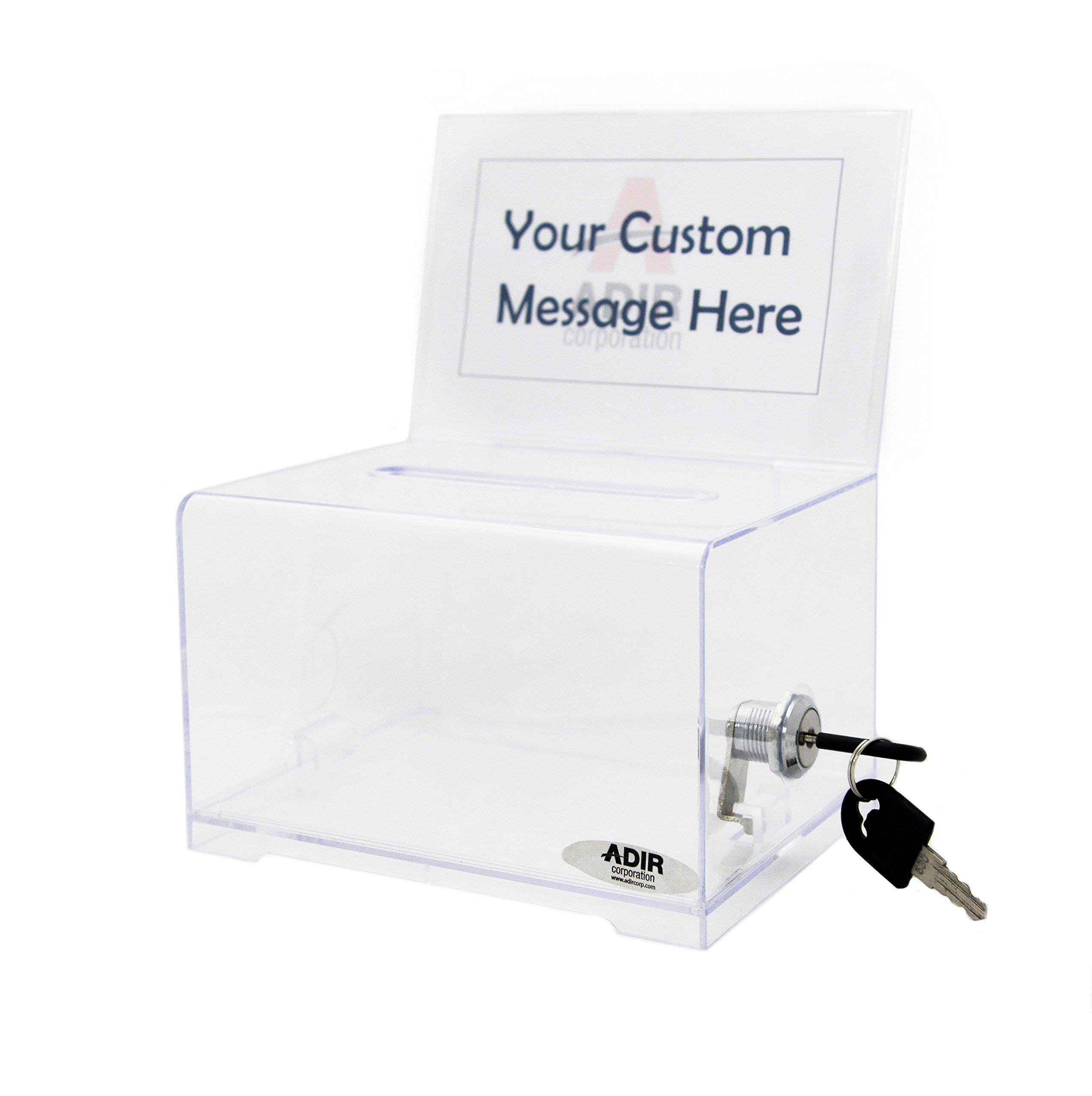 Acrylic Box 4 X 4 : Adir corp acrylic donation ballot box with lock quot