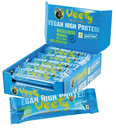 Vegan High Protein 30% Haselnuss Riegel von Veety - Superfood (Goji, Quinoa, Chia) Hanf Protein Vegan Roh Made in Bavaria, 15 x 48g