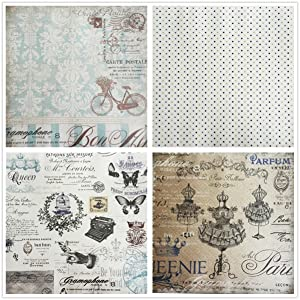 S&B 27 Sheets Vintage Scrapbook Paper Pad 12 x 12 Classic Origami Wrapping Book Craft DIY Card Making Damask Art Alphabet/Photo Frame Album Creative Handmade Decorative Die Cuts Background (Color: Blue, Tamaño: 12 x 12)