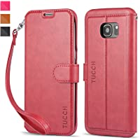 TUCCH Samsung Galaxy S7 Edge PU Leather Slim-Line Stand Wallet Case (Wine)