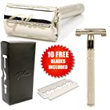 Gibson Premium Butterfly Double Edge Safety Razor With 10 Replacement Blades