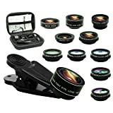 11 in 1 Cell Phone Camera Lens Kit, 0.63Wide Angle Lens+15X Macro+198°Fisheye+2X Telephoto+Kaleidoscope3/6+CPL/Flow/Star/Radial Filter/Universal Clip,for iPhone Samsung Huawei Andriod Smartphone (Color: Multicolor)
