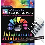 30 Watercolor Brush Pens Combo Pack, 24 Colors 6 Water Brushes, Flexible Real Nylon Brush Tips, for Watercolor Painting Calligraphy Coloring, Beginner or Artist, Portable, Low Mess (Color: Pens)