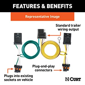 curt 55323 vehicle-side custom 4-pin trailer wiring harness for select  chrysler, dodge, mitsubishi, plymouth vehicles