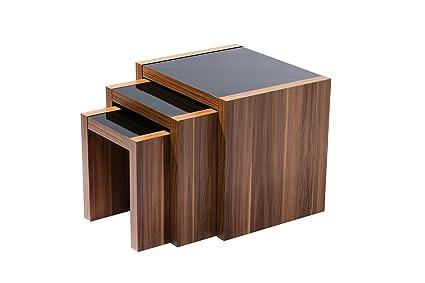 Premier Housewares Fargo - Conjunto de 3 mesas nido (revestimiento en nogal y esmalte brillante en negro, 50 x 55 x 45 cm)