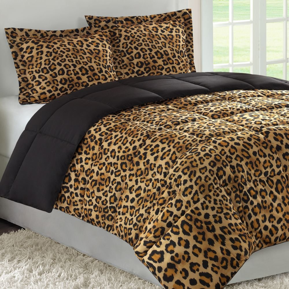 sets 7pcs queen leopard faux fur brown bed in a bag comforter set