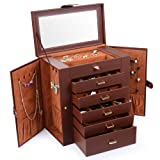 Kendal Huge Leather Jewelry Box/Case/Storage LJC-SHD5BN (Brown) (Color: Brown)