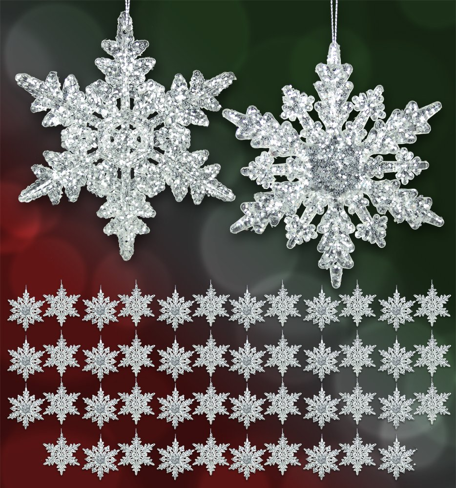 Set of 48 Acrylic Iridescent Snowflake Christmas Ornaments Winter Wedding Favor Birthday Party Theme Decoration for Girls - 4.5