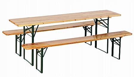 Table et 2 bancs oktoberfest PAPILLON 092626 220 x 80 + oktoberfest jardin de la bière en acier pliable et bois naturel peint