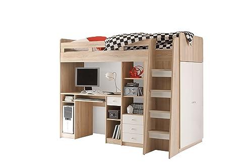Stella Trading Unit Bett, Holz, eiche sonoma / absetzung weiß, 124 x 204 x 160 cm