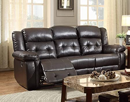 Homelegance Palco Recliner Sofa In Dark Brown Airehyde Match