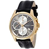 Hamilton Men's 'Jazzmaster' Swiss Automatic Gold and Leather Casual Watch, Color:Black (Model: H32546781)